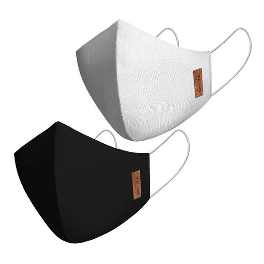 Kit Máscara Malwee Antiviral Lisa 2 Unidades - Branco+Preto