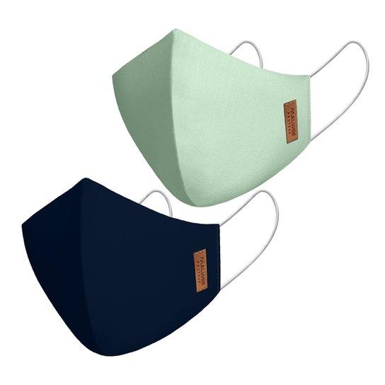 Kit Máscara Malwee Antiviral Lisa 2 Unidades - Verde+Azul