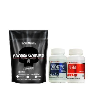 Kit Mass Gainer 1,5kg – Black Skull + BCAA 2500mg 60 cápsulas + Creatina 100gr – MNW Nutrition
