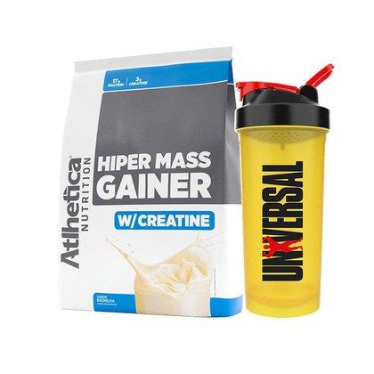 Kit Massa Hiper Mass Gainer 3kg - Atlhetica + Coqueteleira - Universal