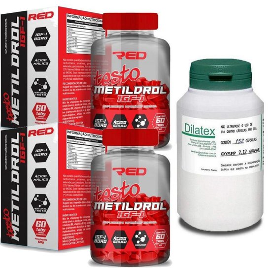 Kit Massa Muscular 2x Metildrol (60 Tabs) Red Series + 1 Dilatex (152 Caps) - Power Supplements -