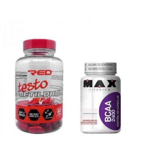 Kit Massa Muscular Metildrol Red Series 60tbs + Bcaa 2400 Maxtitanium 60cps -