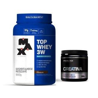 Kit Max Titanium Top Whey 3w Max titanium Creatina 300g Probiotica