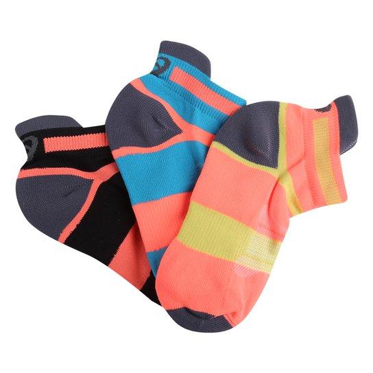 Kit Meia Infantil Asics Cano Curto Coloridas 3 Pares - Coral