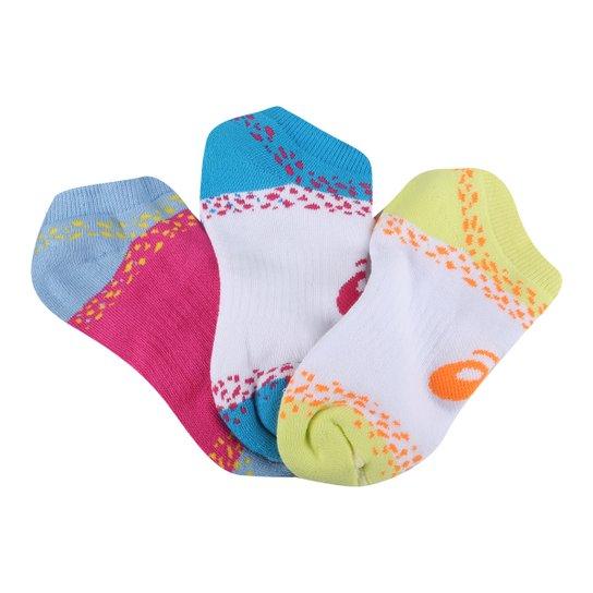 Kit Meia Infantil Asics Cano Curto Coloridas 3 Pares - Pink
