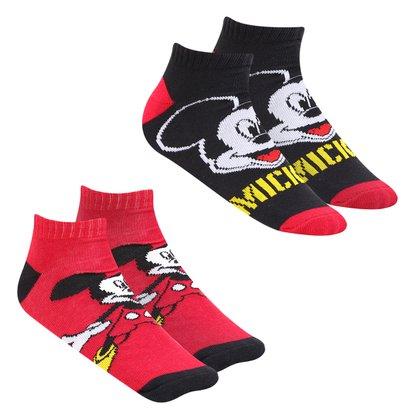 Kit Meia Infantil Disney Cano Curto Mickey Com 2 Pares Masculina