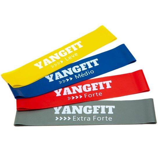 Kit Mini Band Faixa Elástica Circular 4 Intensidades Yangfit - Vermelho+Amarelo