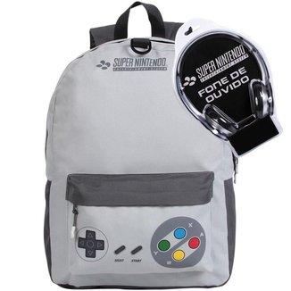Kit Mochila Escolar Super Nintendo + Fone De Ouvido - DMW