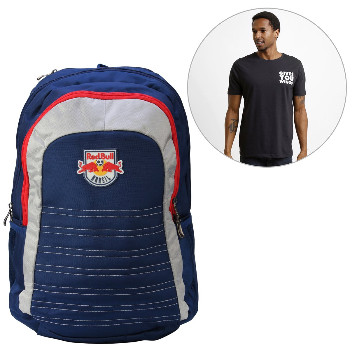 1941488dc1a08 Kit Mochila Red Bull Note + Camiseta Red Bull Racing Stock Car Small Gives  - Compre Agora