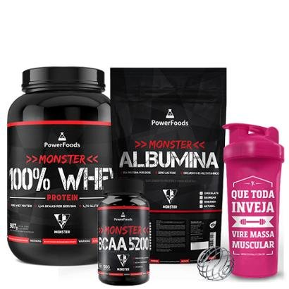 Kit Monster 100% Whey Protein 907g + Albumina 500g + BCAA 100tbs e Coqueteleira – Power Foods