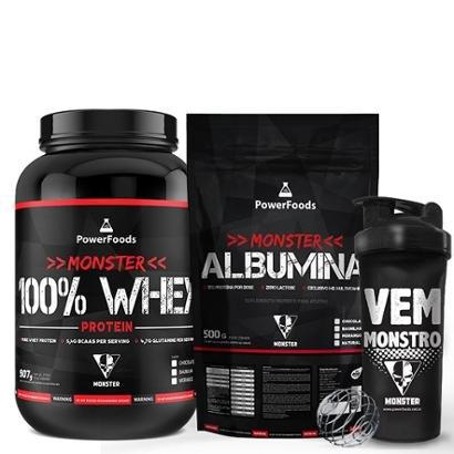 Kit Monster 100% Whey Protein 907g c/ Monster Albumina 500g + Monster BCAA 100tbs e Coqueteleira