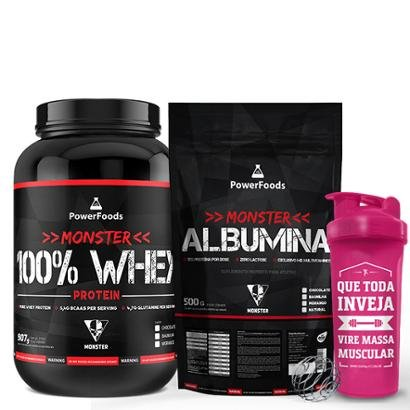 Kit Monster 100% Whey Protein 907g com Monster Albumina 500g mais Coqueteleira 700ml