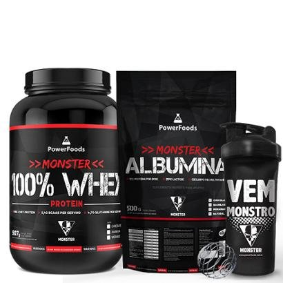 Kit Monster 100% Whey Protein 907g com Monster Albumina Natural 500g e Coqueteleira 700ml