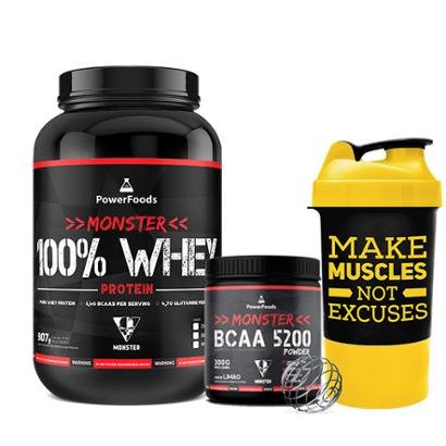 Kit Monster 100% Whey Protein c/ Monster BCAA 5200 mais Coqueteleira Make Muscles
