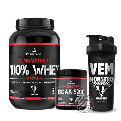Kit Monster 100% Whey Protein c/ Monster BCAA 5200 mais Coqueteleira Vem Monstro