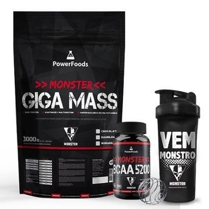Kit Monster Giga Mass 3kg com Monster BCAA 5200 100tbs e Coqueteleira 700ml.