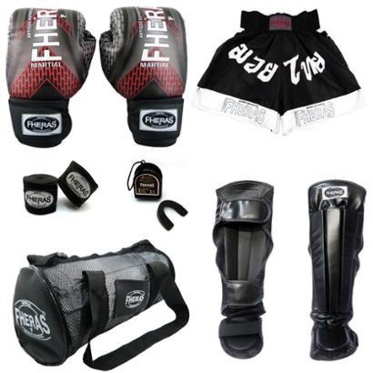 Kit Muay Thai Fheras Top Luva Bandagem Caneleira Bucal Shorts Bolsa 08 oz IRON