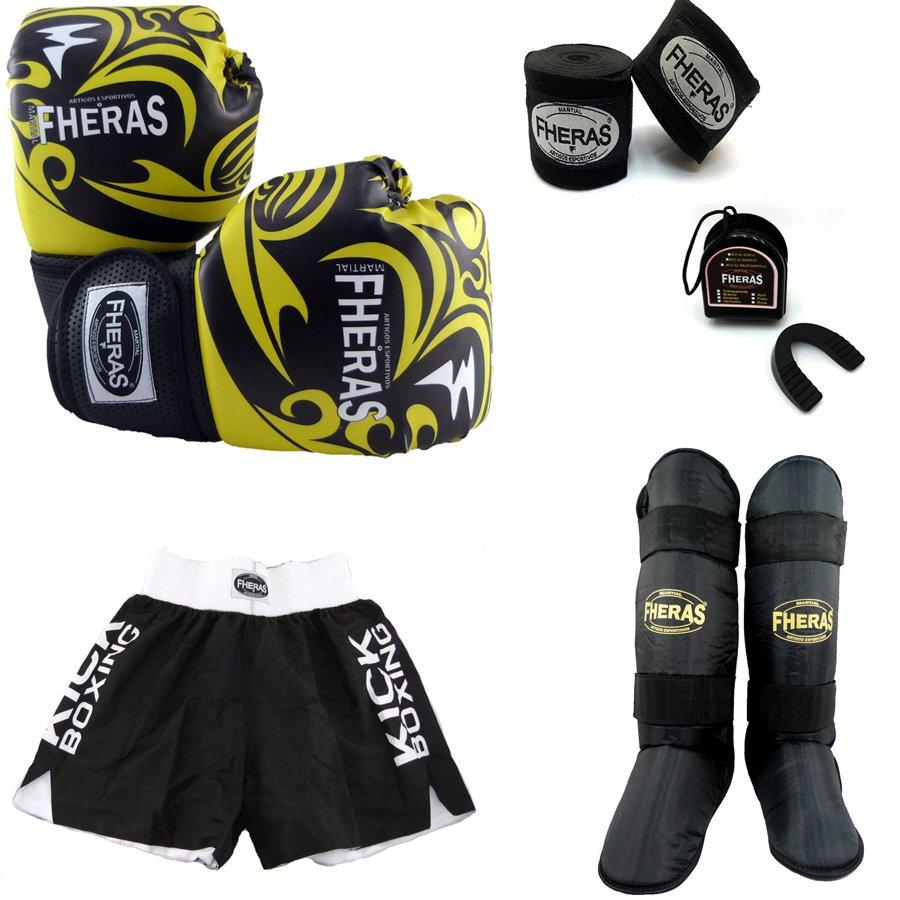 Kit Muay Thai Luva Bandagem Shorts Bucal Caneleira 14 Oz Tribal ... bca1f30a85a18