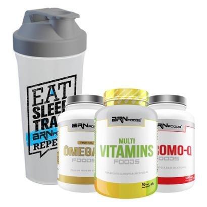 Kit Multi Vitamins 30 caps + Chromo-Q 100 caps + Ômega 3 60 caps + CoqueteleiraBRNfoods
