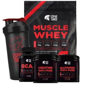 Kit Muscle Whey + Bcaa + Glutamina + Creatina + Shaker