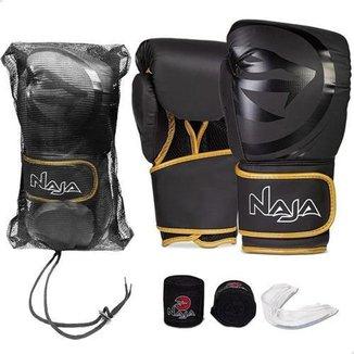Kit Naja Luva Boxe Black + Bandagem + Protetor Bucal + Bolsa