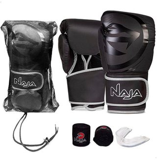 Kit Naja Luva Boxe Muay Thai + Bandagem + Protetor Bucal