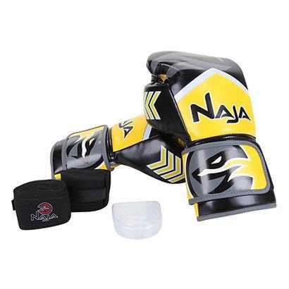 Kit Naja Luva de Boxe / Muay Thai Naja New Extreme 14 Oz + Bandagem + Protetor Bucal