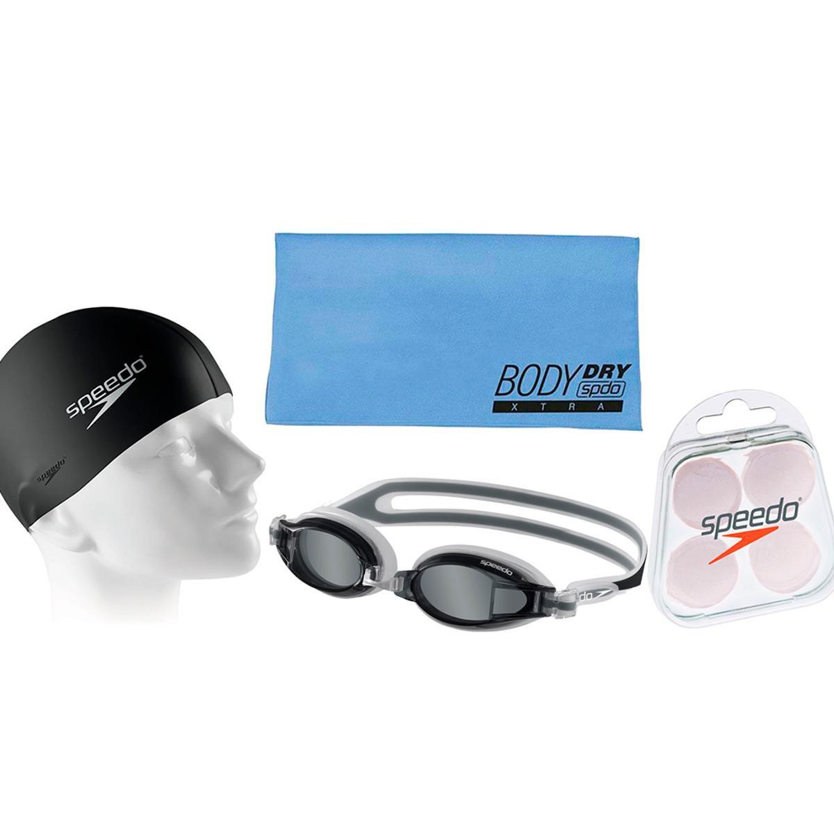 Kit Natação com Óculos Speedo Fox + Toalha + Protetor + Touca - Compre  Agora  735f44a0a7e