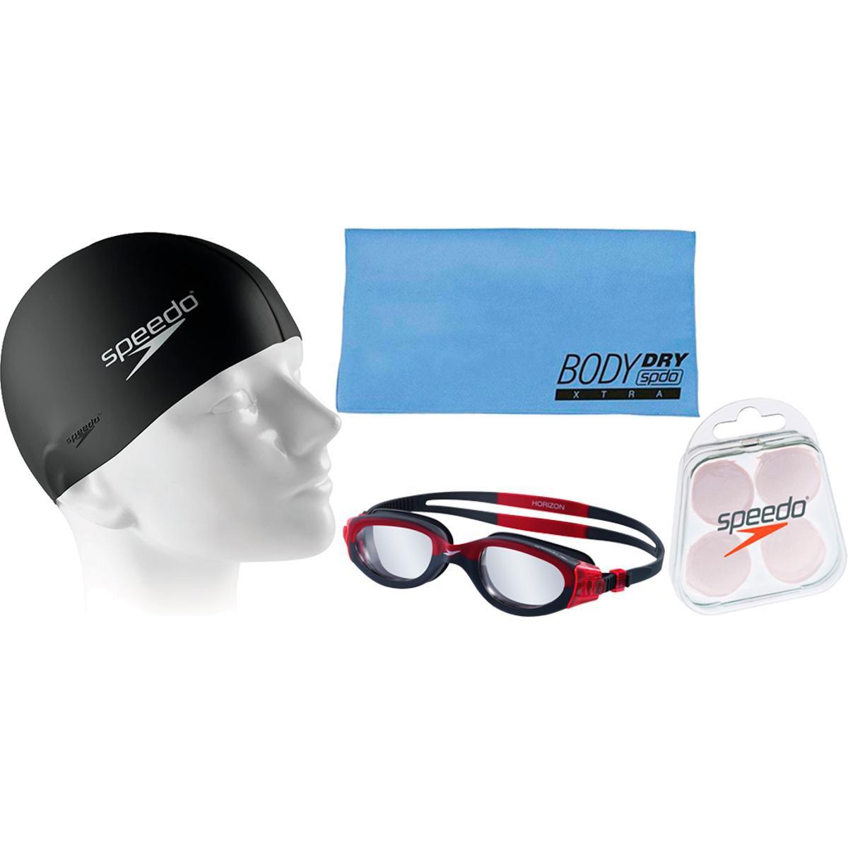 Kit Natação com Óculos Speedo Horizon + Toalha + Protetor + Touca - Compre  Agora  d218b27bd610b