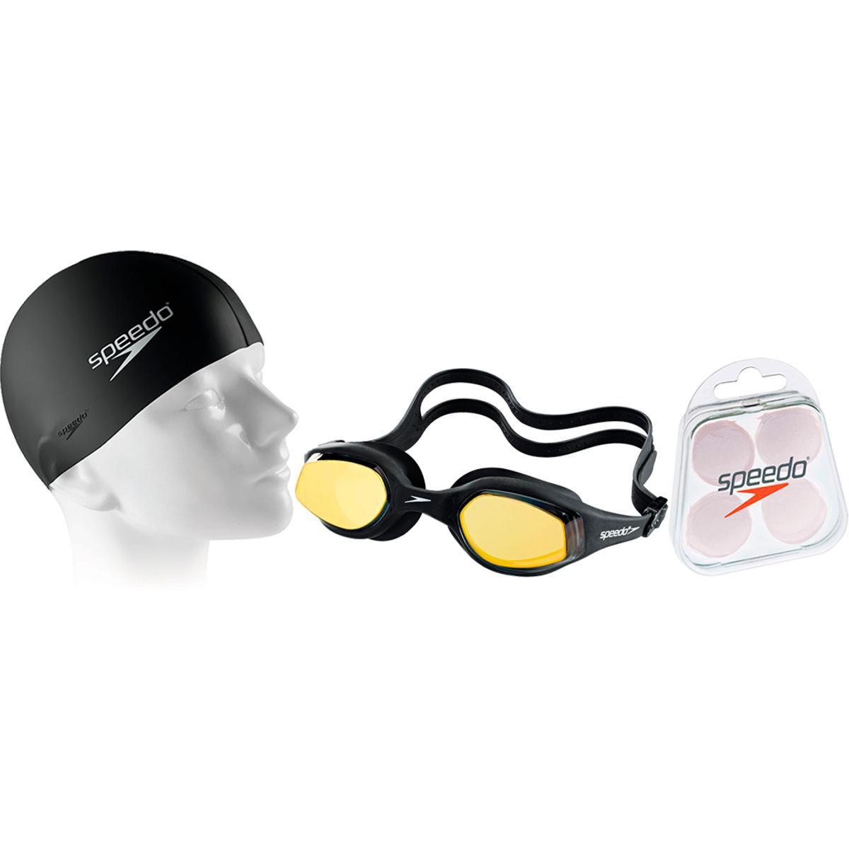8e62dd3d81c0b Kit Natação com Óculos Speedo Tempest Mirror + Protetor + Touca - Compre  Agora