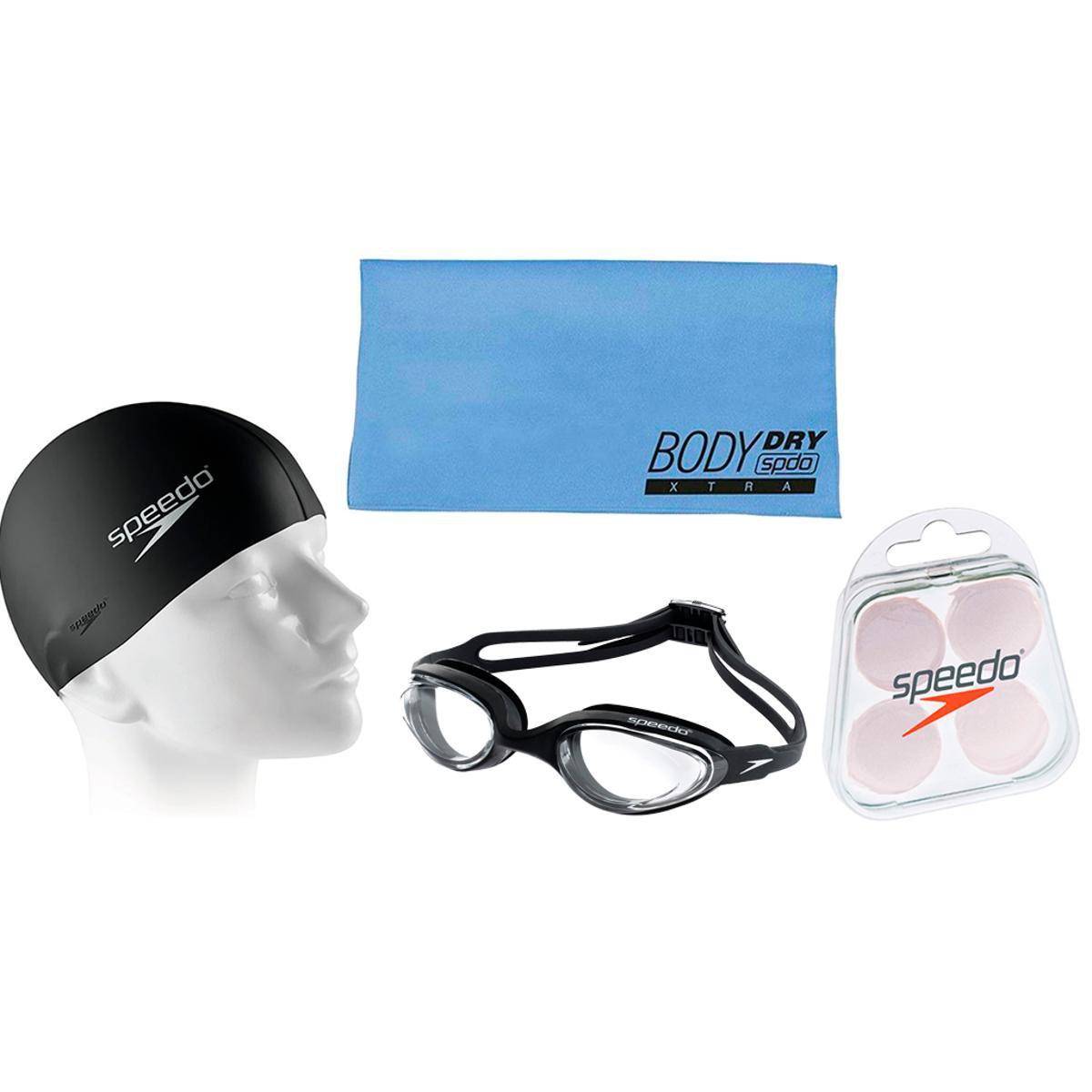 32cd9996b Kit Natação com Óculos Speedo + Toalha + Protetor + Touca - Compre Agora