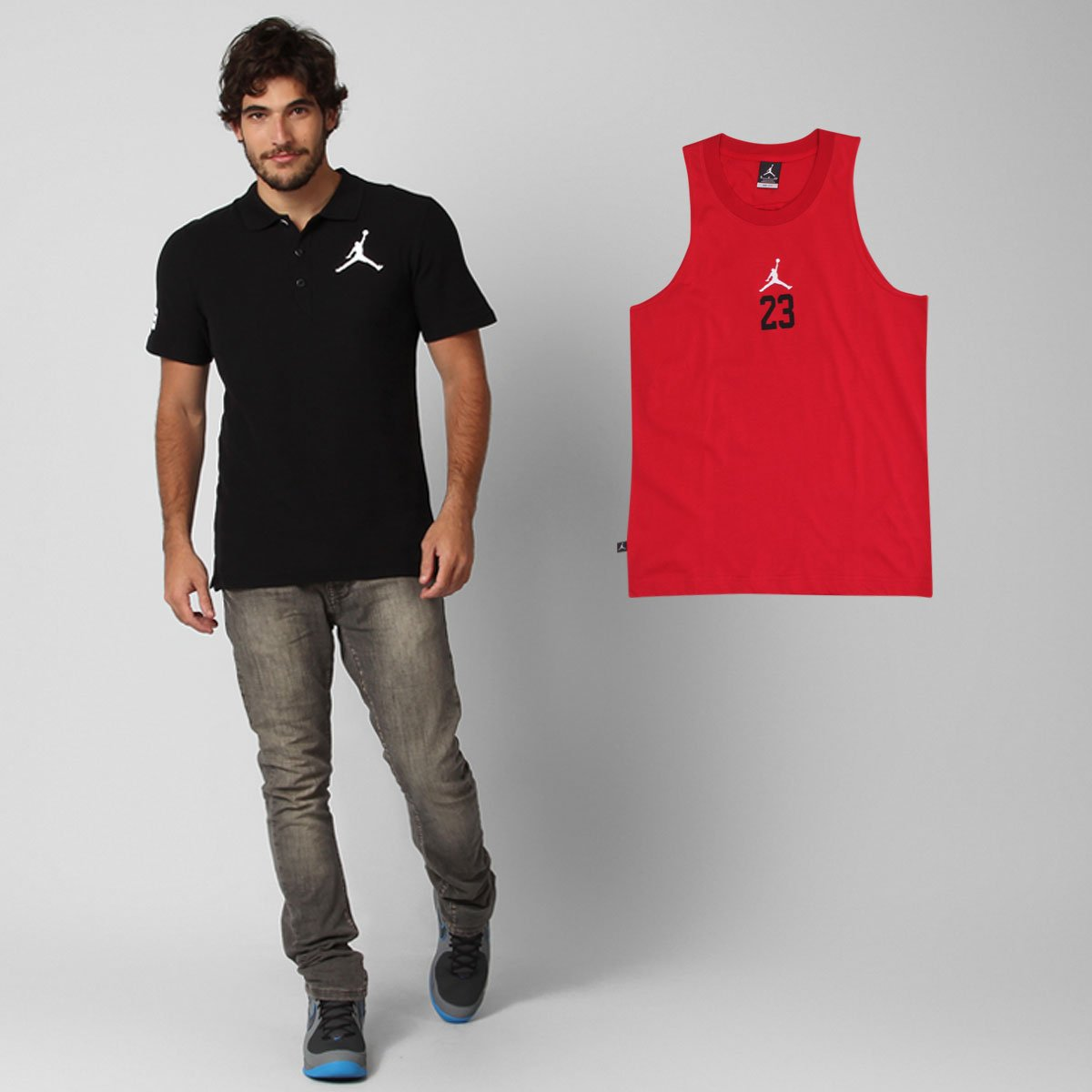 ffb18b072fa52 Kit Nike - Camisa Polo Nike Jumbo Jordan + Camiseta Regata Nike Jordan Rise  - Compre Agora
