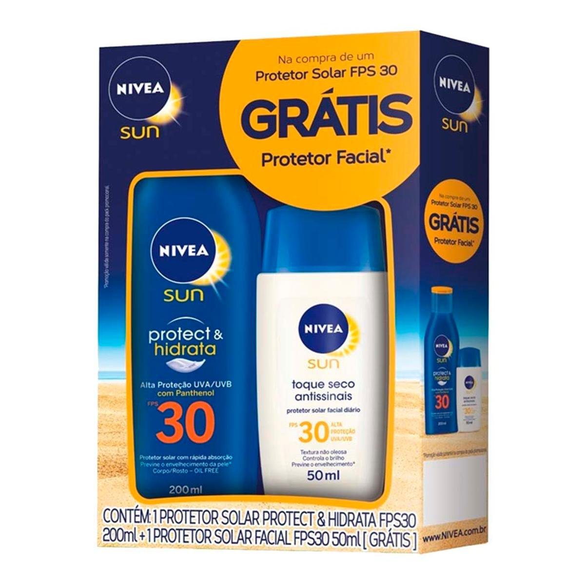 Kit Nivea Sun Protetor Solar Hidratante FPS 30 200ml + Facial FPS 30 50g - Compre  Agora  7a2bfe3870d1c