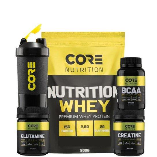 Kit Nutrition Whey + BCAA + Creatina + Glutamina + Shaker Core Nutrition -