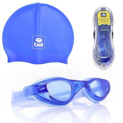 Kit Óculos de Natação Antiembaçante Estojo e Touca Azul BEL