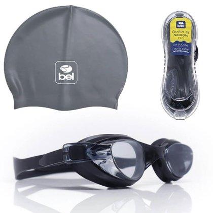 Kit Óculos de Natação Antiembaçante Estojo e Touca Cinza BEL