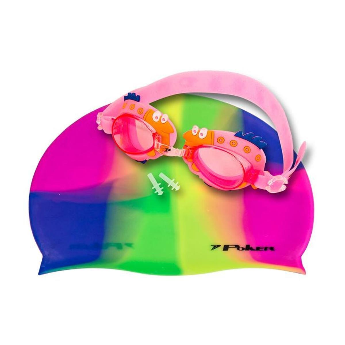 9d90cded5 Kit Óculos + Touca + Protetor de Ouvido de Natação Infantil Poker Cartoons  - Rosa