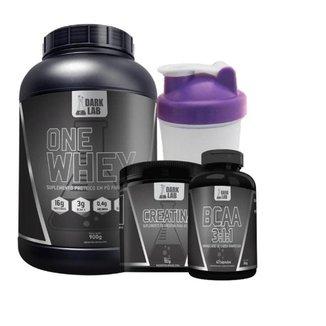 Kit One Whey Protein + Creatina 100g + Bcaa 60 Caps + Coqueteleira  600ml