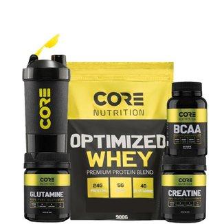 Kit Optimized Whey + BCAA + Creatina + Glutamina + Shaker Core Nutrition