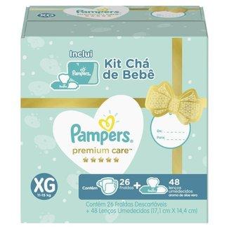 Kit Pampers Premium Care 26 Fralda  XG + 48 Lenços Umedecidos Aloe Vera