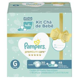 Kit Pampers Premium Care 30 Fralda G + 48 Lenços Umedecidos Aloe Vera