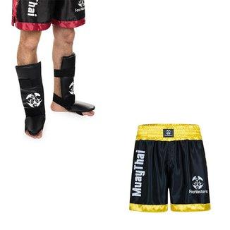 Kit Par C/pé Protetor Canela Mma Kickboxing + Short P/ Muay Thai Cetim