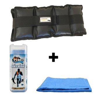 Kit Par De Caneleiras Ahead Sports 1 Kg + 1 Toalha Gelada Ice Towel