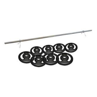 Kit Para Musculação 28kg Anilhas + Barra Zincada