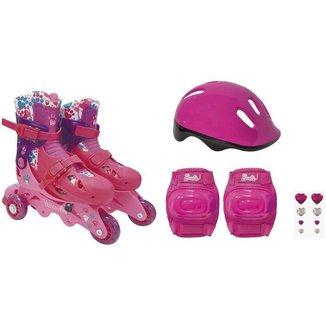 Kit Patins In Line Infantil Barbie Fun com Acessórios