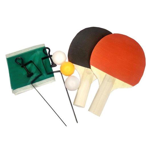 Kit Ping Pong Gold Sports Lazer - 2 raques 3 bolas rede e suporte - Vermelho