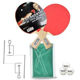 Kit Ping Pong Tênis De Mesa C/ Raquetes+bolas+rede+suportes