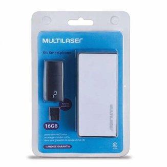 Kit Power Bank 4000 mAh Leitor de Cartão Cartão de Memória Micro SD Classe 10 16GB  Multilaser MC220