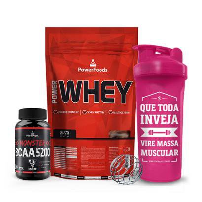 Kit Power Whey 900g + Monster BCAA 5200 - 100 tabs + Coqueteleira Massa Muscular 700ml