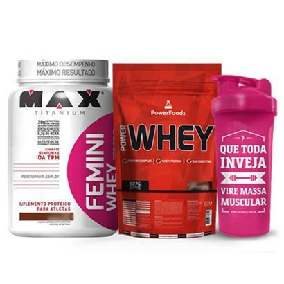 Kit Power Whey 900g PowerFoods + Femini Whey 900g Max Titanium + Coqueteleira Massa Muscular 700 ml